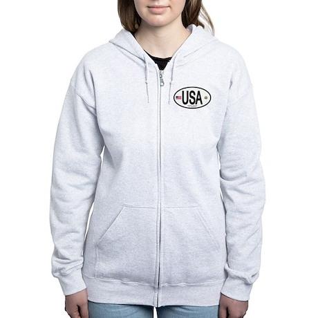 USA Euro-style Country Code Women's Zip Hoodie
