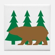 Brown Bear Cabin Tile Coaster