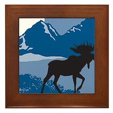Rustic Mountain Moose Framed Tile