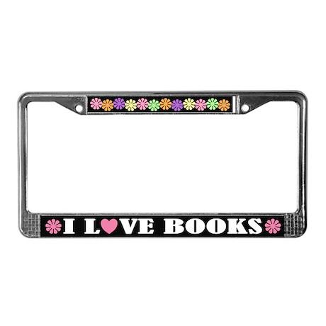 I Love Books License Frame Reading Gift