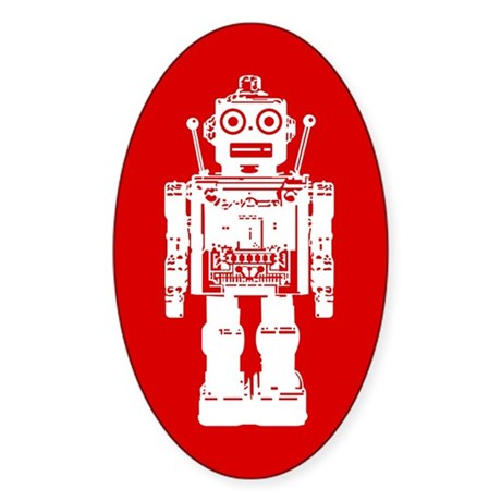 Red Robot Oval Sticker