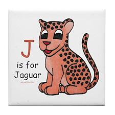 J is for Jaguar Tile Coaster