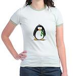 Green Ribbon Penguin Jr. Ringer T-Shirt