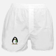 Green Ribbon Penguin Boxer Shorts