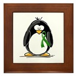 Green Ribbon Penguin Framed Tile