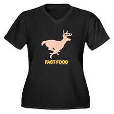 Fast Food... Women's Plus Size V-Neck Dark T-Shirt