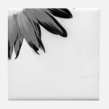 B&W Neg Corner Sunflower Tile Coaster