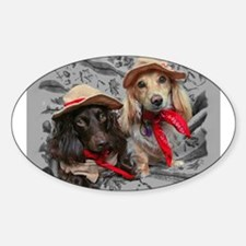 Fishing Doxies Oval Decal
