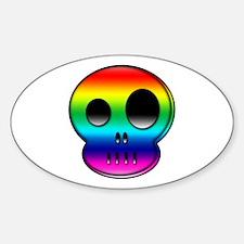Little buddy rainbow skull Oval Decal