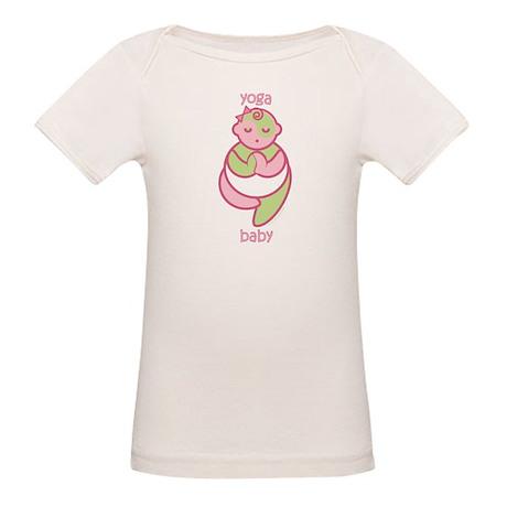 Yoga Baby : Pink & Green Organic Baby T-Shirt