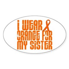 I Wear Orange For My Sister 16 Oval Decal