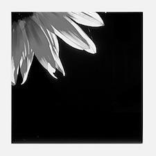Black & White C Sunflower Tile Coaster