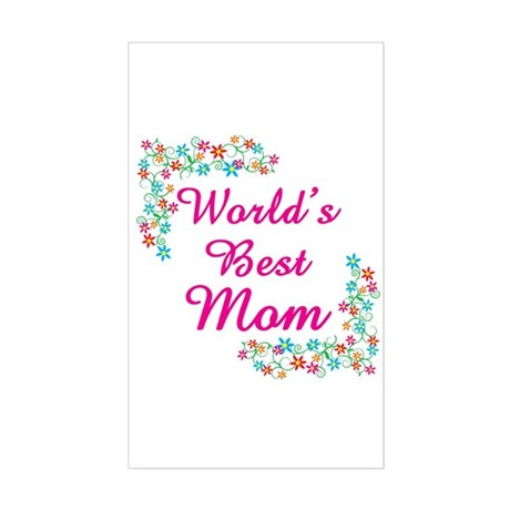 World's Best Mom Rectangle Sticker