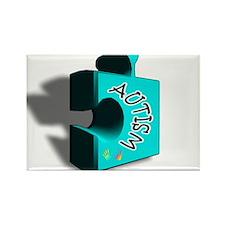 """""""3-D Autism Puzzle Piece"""" Rectangle Magnet (100 pa"""