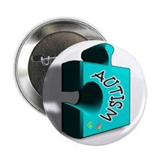 """""""3-D Autism Puzzle Piece"""" 2.25"""" Button"""