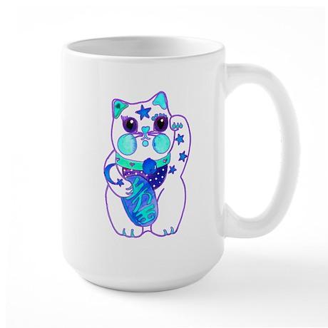 Beckoning Cat Blues Large Mug