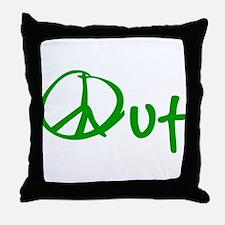 Peace green Throw Pillow