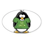 Go Green Penguin Oval Sticker