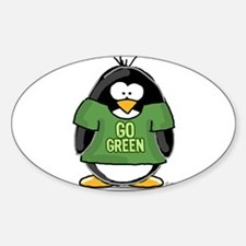 Go Green Penguin Oval Decal