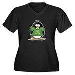 Go Green Penguin Women's Plus Size V-Neck Dark T-S