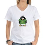 Go Green Penguin Women's V-Neck T-Shirt