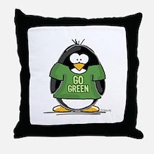 Go Green Penguin Throw Pillow