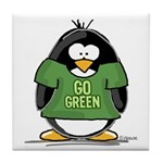 Go Green Penguin Tile Coaster