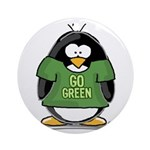 Go Green Penguin Ornament (Round)