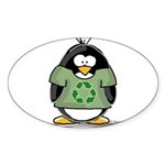 Recycle Penguin Oval Sticker
