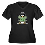 Recycle Penguin Women's Plus Size V-Neck Dark T-Sh