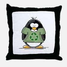 Recycle Penguin Throw Pillow