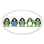 Eco-friendly Penguins Oval Sticker