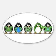 Eco-friendly Penguins Oval Decal