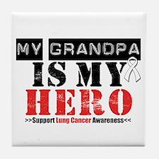 Lung Cancer Hero Grandpa Tile Coaster