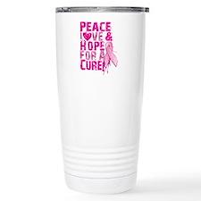 Unique Peace love breast cancer cure Travel Mug
