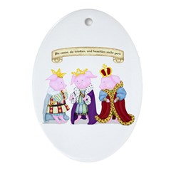 Three Wise Pigs Oval Ornament