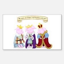 Three Wise Pigs Rectangle Decal