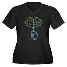 Earth Tree Heart Women's Plus Size V-Neck Dark T-S