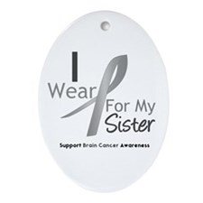 Gray Ribbon Sister Oval Ornament