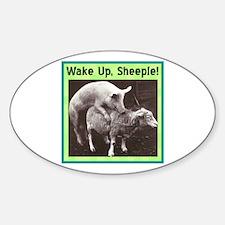 """Wake Up Sheeple"" Oval Decal"