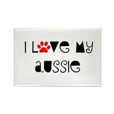 I Love my Aussie Rectangle Magnet