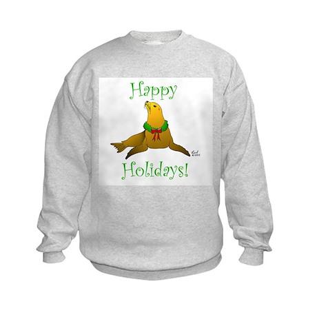 Christmas Sea Lion Kids Sweatshirt
