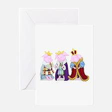 Three Royal Pigs Greeting Card