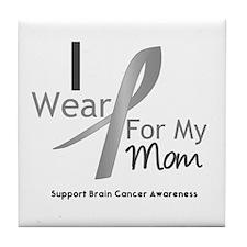 Gray Ribbon Mom Tile Coaster