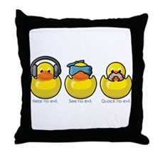 No Evil Ducks Throw Pillow