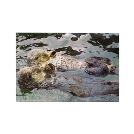 Sea Otters Holding Hands Rectangle Magnet