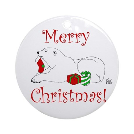 Christmas Polar Bear Ornament (Round)