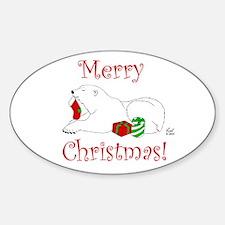 Christmas Polar Bear Oval Decal