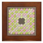Fernberry Houndstooth Framed Tile