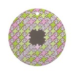 Fernberry Houndstooth Ornament (Round)